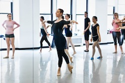 Dawn Hillen leads a ballet class at Broadway Dance Center