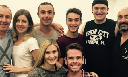 Dance Informa's Editor Deborah Searle with some of the cast of 'Priscilla Queen of the Desert' in rehearsals.