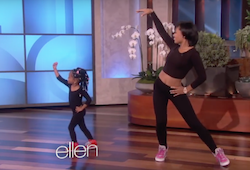 A screen shot of Heaven and her mom dancing on the Ellen Show. Photo courtesy of The Ellen Show YouTube Channel.