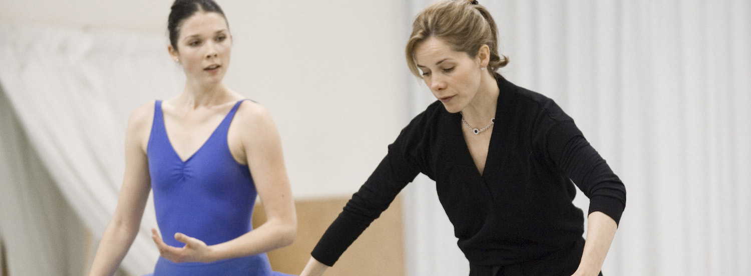 Acclaimed British ballerina Darcey Bussell works with student Laura Jones at the NZ School of Dance. Photo by Stephen A'Court.