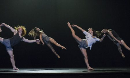 Sydney Dance Company, Lux Tenebris (2). Dancers Nelson Earl, Holly Doyle, Fiona Jopp, David Mack. Photo by Peter Greig