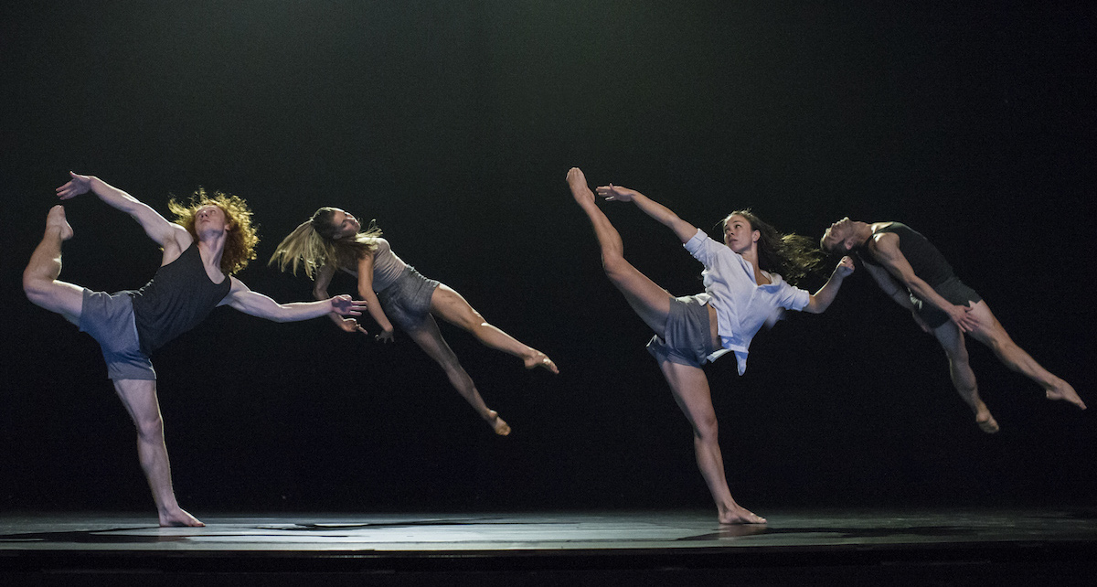 Sydney Dance Company, Lux Tenebris (2). Dancers Nelson Earl, Holly Doyle, Fiona Jopp, David Mack. Photo by Peter Greig