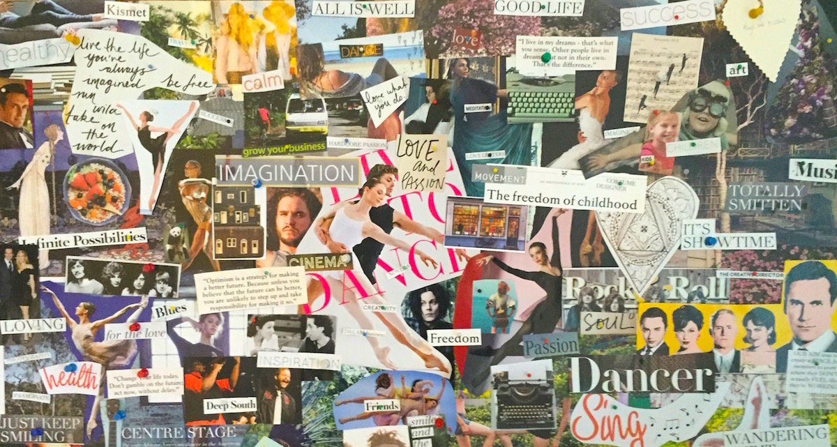 An example of a dance vision board. Photo courtesy of Rain Francis.