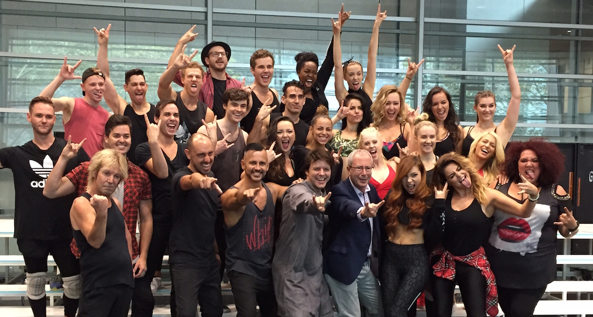 The cast of 'We Will Rock You' with Ben Elton. Photo by Nicole Saleh.