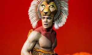 Nicholas Afoa (Simba) in Disney's The Lion King at the Lyceum Theatre, London. Photo by Disney