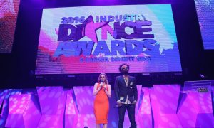 Hosts Keltie Knight and Dave Scott inside at the 2016 Industry Dance Awards and Cancer Benefit Show held at the Avalon in Hollywood, CA. Photo By John Salangsang/Sipa USA.