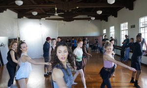 Kathryn McCormick and dancers on set for 'Lift Me Up'. Photo courtesy of McCormick.