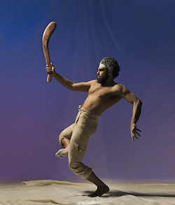 Beau Dean Riley Smith in Bangarra Dance Theatre's 'Bennelong'. Photo by Edward Mulvihill.