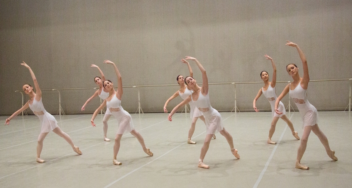 Class on stage at the Bolshoi Ballet Academy. Photo courtesy of the Academy.