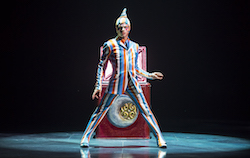 Mike Tyus as The Trickster in Cirque du Soleil's 'KOOZA', with costumes by Marie-Chantale Vaillancourt. Photo by James Morgan.