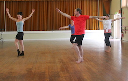 Adelaide independent artist Jessica Statton teaching an intermediate contemporary class in Glengowrie. Photo by Jo McDonald.