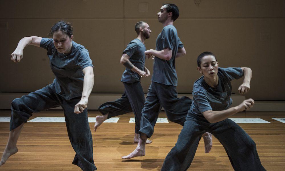 Briarna Longville, Jonnine Nokes, Atticus Bastow and Lilian Steiner in Steiner's 'Noise Quartet Meditation'. Photo by Gregory Lorenzutti for Dancehouse.