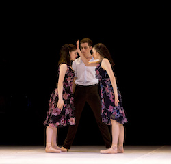 Sara Andrlon, Noah Dunlop and Eilis Small in Graeme Murphy AO's 'Almost'. Photo by Sergey Konstantinov.
