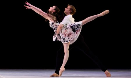 Serena Graham and Joseph Romancewicz in Graeme Murphy AO's 'Almost'. Photo by Sergey Konstantinov.