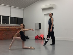 Dusty Button coaching Alice McArthur at International Ballet Workshops. Photo courtesy of IBW.