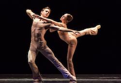 Houston Ballet Principal Dancers Ian Casady and Jessica Collado in 'Sons De L'âme'. Photo by Amitava Sarkar.