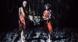 Deborah Brown and Yolanda Lowatta in 'Ngathu'. Photo by Daniel Boud.