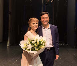 Mia Heathcote with Queensland Ballet Artistic Director Li Cunxin during her promotion. Photo courtesy of Heathcote.
