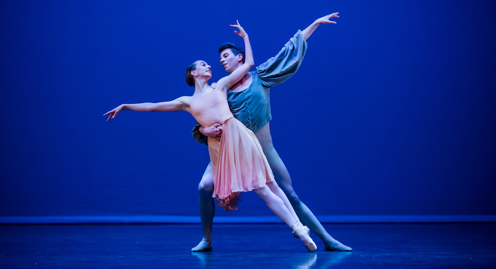 New Zealand School of Dance's 50th Anniversary Graduation Season, featuring Emma-Rose Barrowclough and Jack Whiter in George Balanchine's 'Allegro Brillante'. Photo by Stephen A'Court.