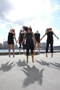 DirtyFeet original members from left-right Anthea Doropoulos, Calista Sinclair, Eva Fernandez Adan, Sarah Fiddaman and Melisa Gowen-Ribola. Photo by Heleana Genaus.