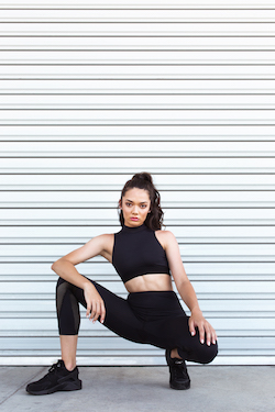 Portia Talib in the Ivy Crop Top and Bailey Legging from Energetiks' Oasis Collection. Photo by Energetiks