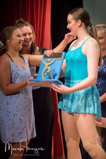 Gabby Petersen being presented with the 2018 Blue Challenge Championship Award. Photo by Monsta Images Dance & Stage Photography.