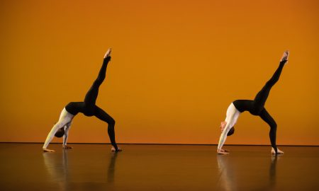 Michael Clark Company's Harry Alexander and Benjamin Warbis. Photo by Hugo Glendinning.