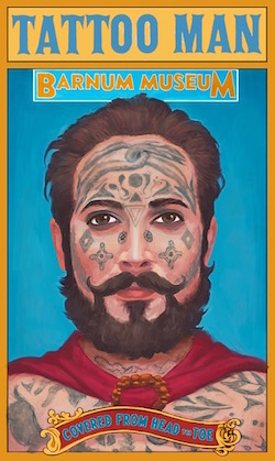Publicity image for Barnum Museum and Captain Costentenus - The Tattooed Man, as used in the film 'The Greatest Showman'.