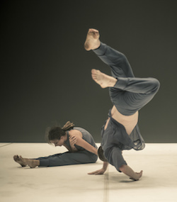 Alana Everett and Alisdair Macindoe in Stephanie Lake's 'Double Blind'. Photo by Pippa Samaya.