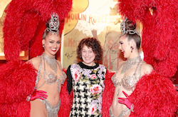 Janet Pharaoh at an award ceremony with Australian dancers Lesleigh Burrell and Molly McLaren. Photo courtesy of Moulin Rouge.