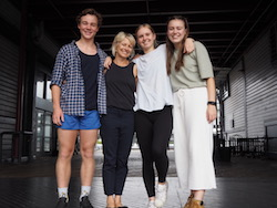 Linda Gamblin (second from left) with PPY students Austin, Charlotte and Eugenie. Photo by Elizabeth Ashley.