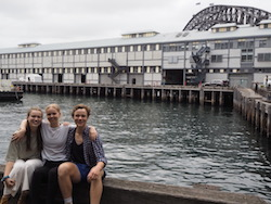 PPY students Eugenie, Charlotte and Austin outside the Sydney Dance Company studios. Photo by Elizabeth Ashley.