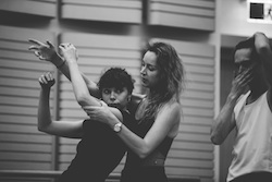 Coco Mathieson and Alice Topp in rehearsal for 'Aurum'. Photo by Kate Longley.