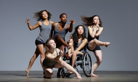 Axis Dance Company Dancers (L to R) Lani Dickinson, Liv Schaffer, James Bowen, Carina Ho, Julie Crothers. Photo by David DeSilva