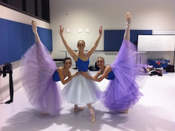 Lydia Pedrana in rehearsal before WAAPA performance with Tash Vuijic and Rhianna Isard. Photo courtesy of Pedrana.
