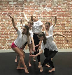 Expressions Dance Company Youth Ensemble members Christiana Stewart, Avalon Ormiston, Hannah Groom, Sarah Bellenger and Alyssa Park. Photo courtesy of EDC.