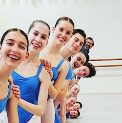Simon Dow with students. Photo courtesy of The Australian Ballet School.