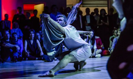 Alisdair MacIndoe in Lucy Guerin's choreography at WXYZ Studios Launch Event. Photo by Bryony Jackson.