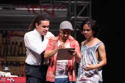 Joe Kalou, Stephen Lopez and Marty Alix in 'In the Heights' at Sydney Opera House. Photo by Clare Hawley.