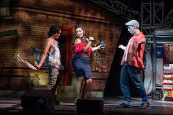 Marty Alix, Olivia Vasquez and Stephen Lopez in 'In the Heights' at Sydney Opera House. Photo by Clare Hawley.