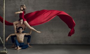 RNZB New Choreographic Series, with RNZB dancers Caroline Wiley, Fabio Lo Giudice and Kihiro Kusukami. Photo by Ross Brown.