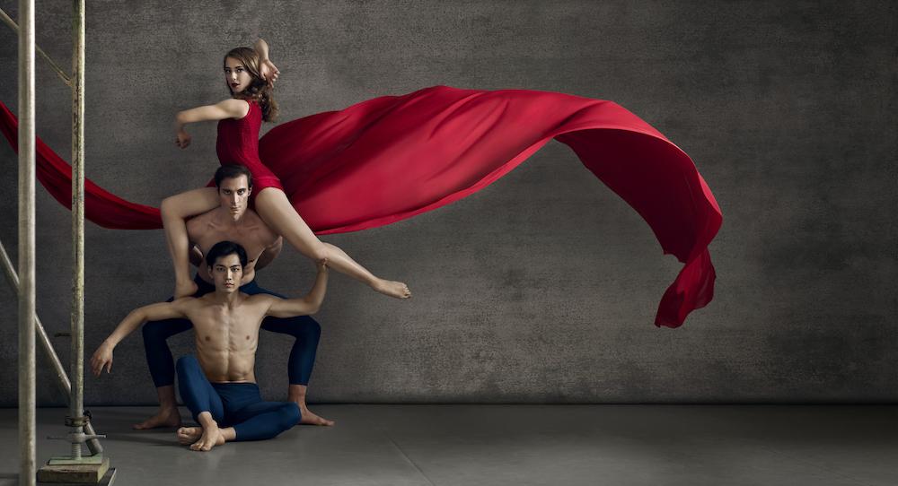 RNZB New Choreographic Series, with RNZB dancers Caroline Wiley, Fabio Lo Giudice and Kihiro Kusukami. Photo by Ross Brown.
