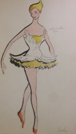 A drawing for a costume for 'Gold'. Photo courtesy of Simonne Smiles.