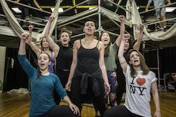 The cast of 'Hair' in rehearsal. Photo by John McRae.