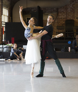 Carina Roberts and Matthew Edwardson rehearsing Peasant Pas de Deux in 'Giselle'. Photo by Sergey Pevnev.