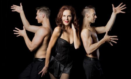 Rhonda Burchmore (center) with dancers Gregory Dunn and Matthew Browning. Photo courtesy of Burchmore.