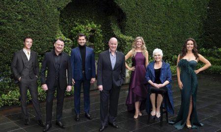 Nigel Huckle, Rodney Dobson. Rob McDougall, Anthony Warlow, Georgina Hopson, Rowena Wallace, Alinta Chidzey of 'The Secret Garden'. Photo by Jeff Busby.