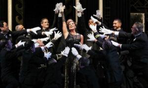 Julie Lea Goodwin as Hanna Glavari and the Opera Australia Chorus in Opera Australia's production of 'The Merry Widow' at the Sydney Opera House. Photo by Prudence Upton.