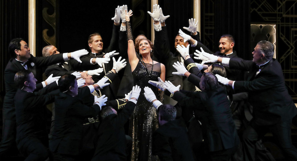 Julie Lea Goodwin as Hanna Glavari and the Opera Australia Chorus in Opera Australia's production of 'The Merry Widow' at the Sydney Opera House. Photo by Prudence Upton.