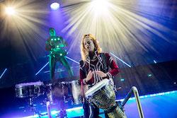 Stef Furnari and Lisa Purmodh in 'Drummer Queens'. Photo by David Hooley.